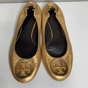 Tory Burch Gold Leather Flats Shoes Size 8.5 Fall